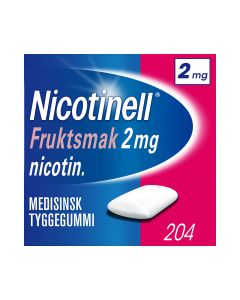 Nicotinell 2mg tyggis for røykeslutt Fruktsmak 204 stk
