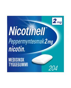 Nicotinell 2mg tyggis for røykeslutt Peppermyntesmak 204 stk