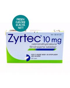 Zyrtec tabletter 10 mg 30 stk