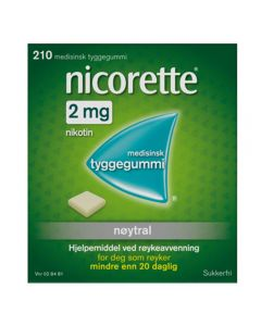 Nicorette tyggegummi med nøytral smak 2 mg 210 stk