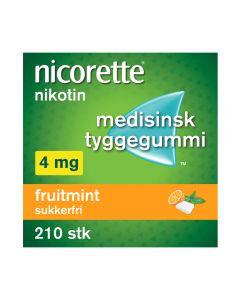 Nicorette fruitmint tyggegummi 4mg 210stk