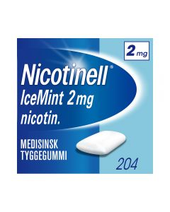 Nicotinell 2mg tyggis for røykeslutt Icemint 204 stk