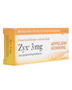 Zyx sugetabletter appelsin/honning 3 mg 20 stk