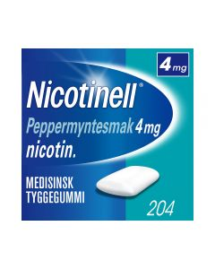 Nicotinell 4mg tyggis for røykeslutt Peppermyntesmak 204 stk