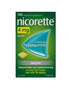 Nicorette tyggegummi nøytral 4 mg 105 stk