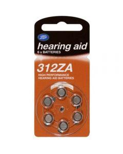 Boots batteri for høreapparat 312Za 6 stk