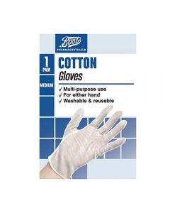 Boots Pharmaceuticals Cotton Gloves Medium - 1 par