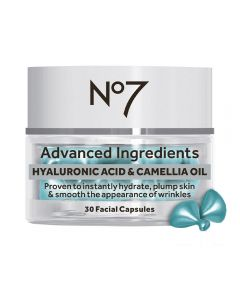 No7 Advanced Ingredients HYALURONIC ACID & CAMELLIA OIL Facial Capsules 30stk