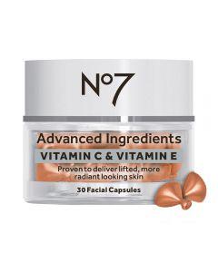 No7 Advanced Ingredients VITAMIN C & VITAMIN E Facial Capsules 30stk