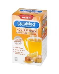 Curamed Hoste & Hals Drik sitron, honning og ingefær 8 stk
