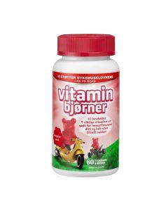 Vitaminbjørner tyggetabletter bringebær 60 stk